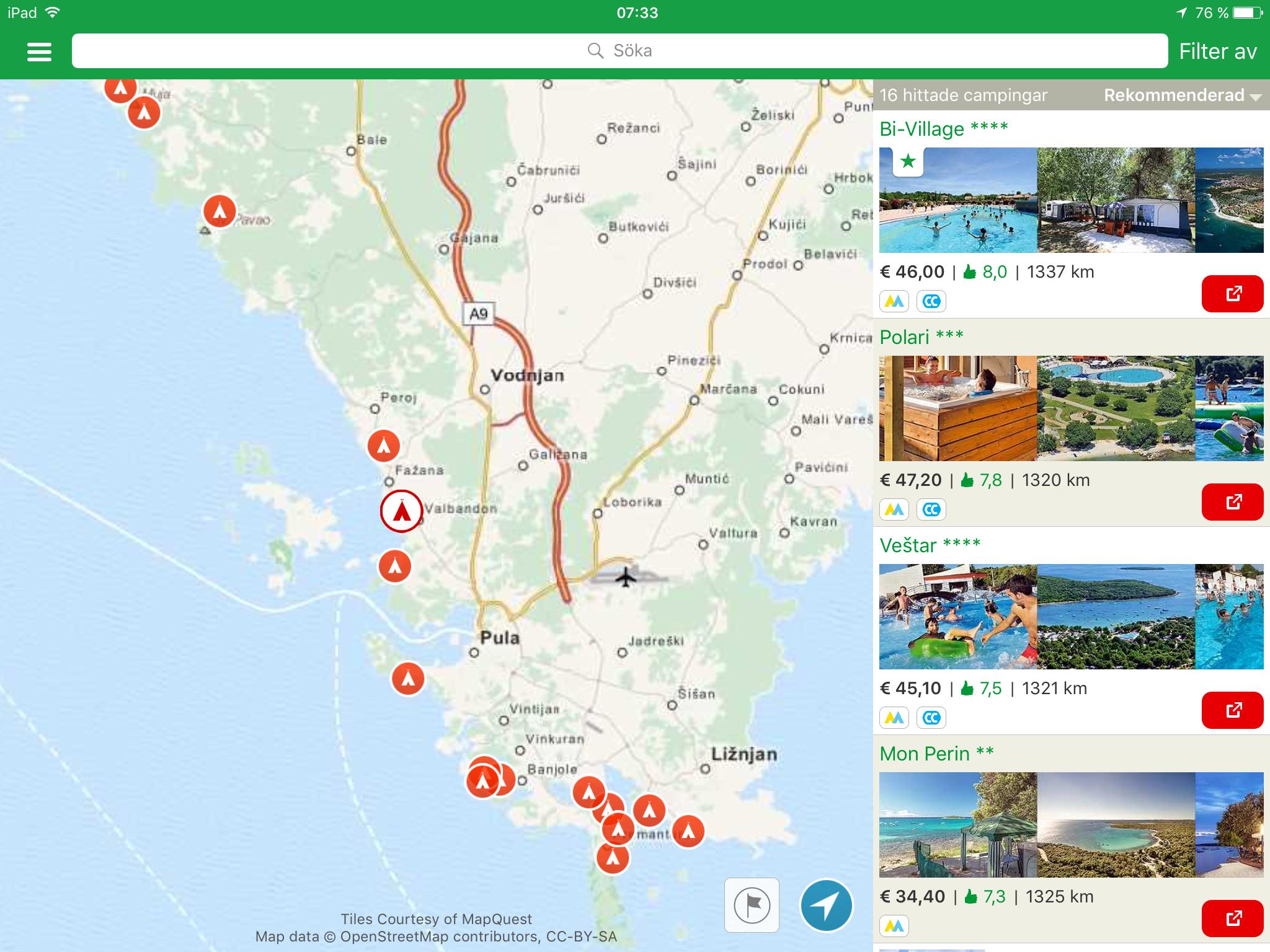 karta över campingplatser i danmark Reseplanering Kroatien / Danmark   Våra Husbilsresor karta över campingplatser i danmark